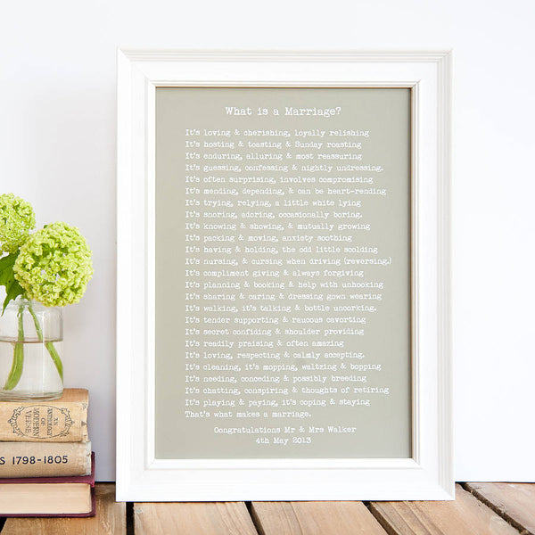 Marriage Poem Print