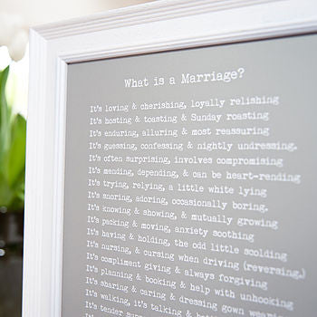 'What Is A Marriage?' Poem Print