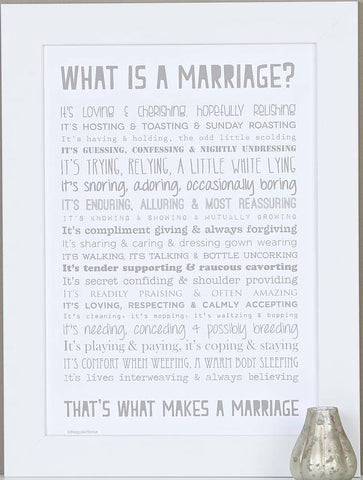 'What is Marriage?' Poem Typographic Print