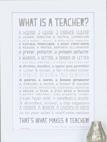 'What Is A Teacher?' Poem Print