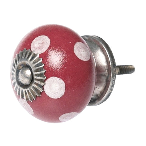 White Spot Red Ceramic Drawer Knob