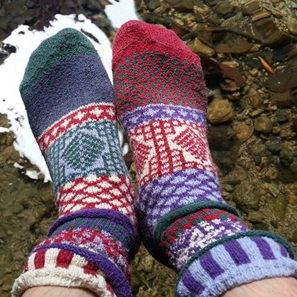 Winterberry Mismatched Knitted Socks