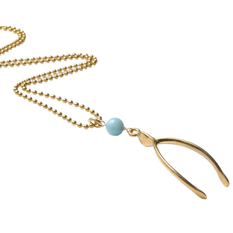 Wishbone Pendant Necklace with Amazonite