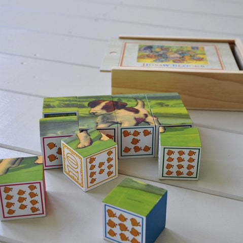 Box of Vintage Wooden Jigsaw Blocks