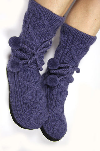 Smoky Blue Woollen Slipper Socks