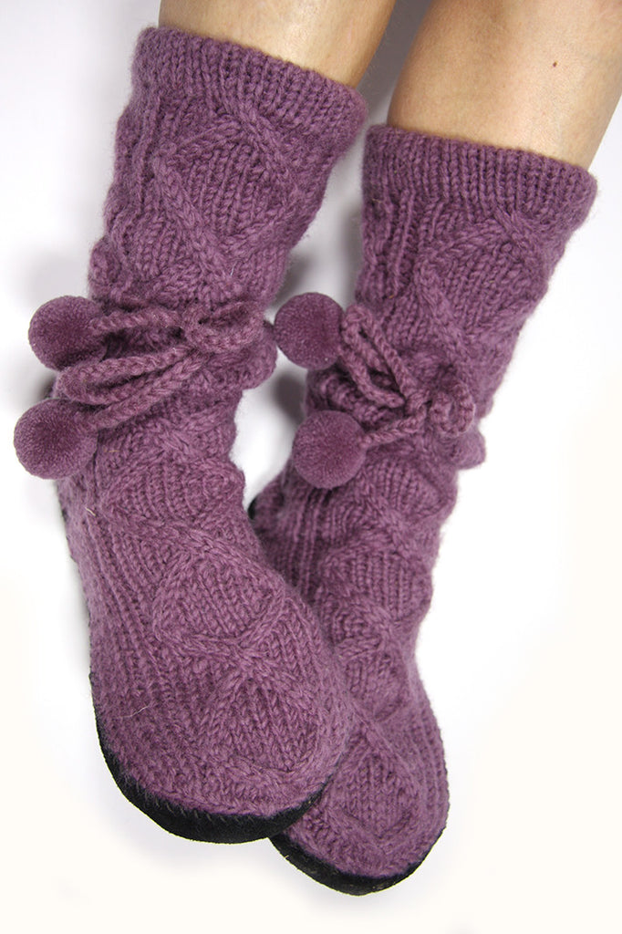 Dusky Mauve Woollen Slipper Socks