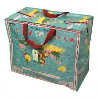 Jumbo Vintage World Map Storage Bag