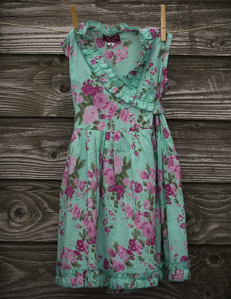 Turquoise Rose Printed Wrap Dress