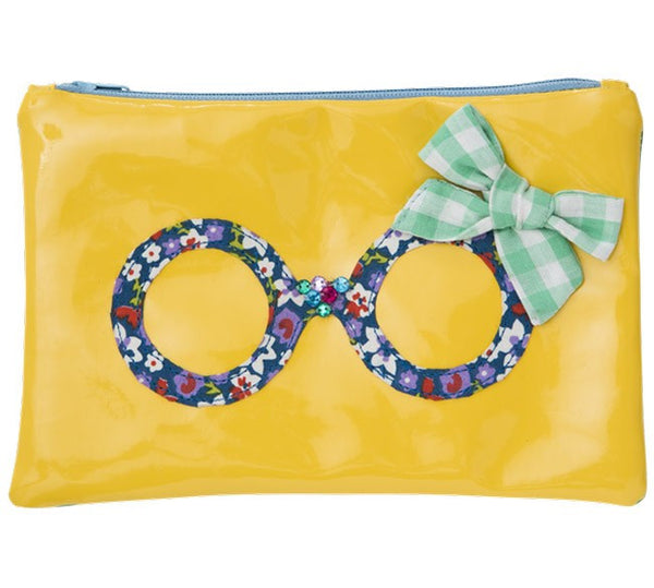 Yellow Cosmetic Bag with Spectacle Applique