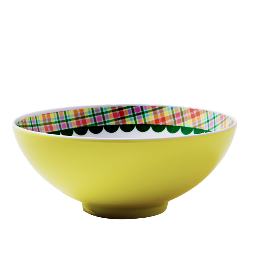Yellow Japanese Bird Print Melamine Bowl