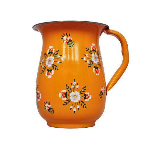 Yellow Tangerine Hand Painted Enamel Jug