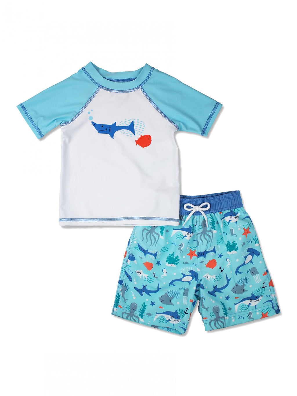 Boys Sea Animals Short Sleeve Rash Guard & Swim Trunks Set, Blue
