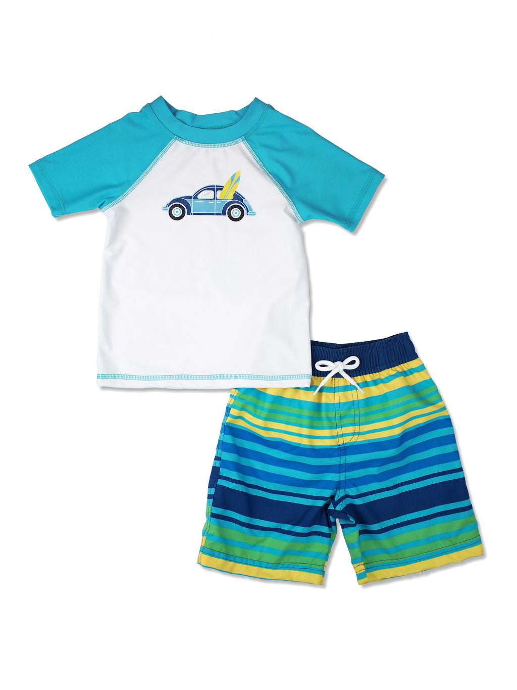 Boys Car Short Sleeve Rash Guard & Swim Trunks Set, Teal
