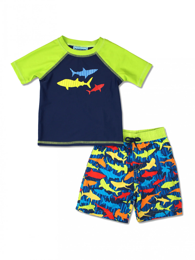 Boys Stripe Shark Short Sleeve Rash Guard & Swim Trunks Set, Lime