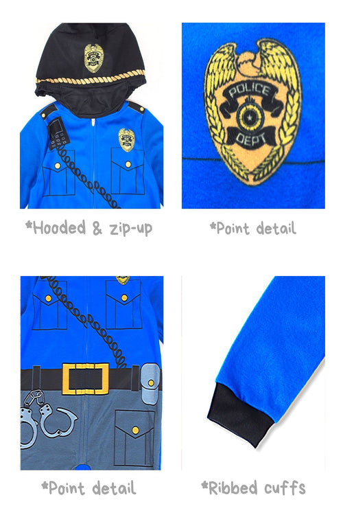 Sleepimini Boys Policeman Hooded Blanket Sleeper, Blue
