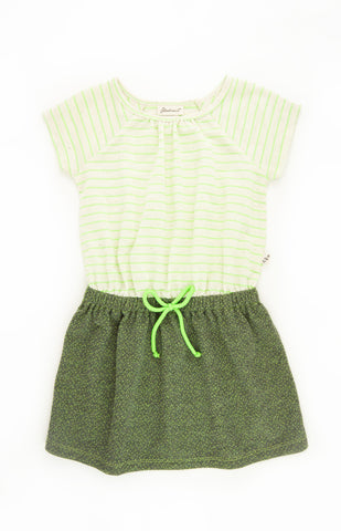 Raglan Neon Stripe Dress, GREEN