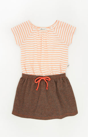 Raglan Neon Stripe Dress, ORANGE