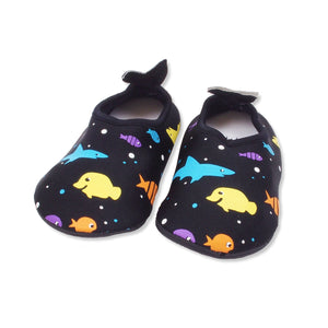 Boys Fish Slip-on Aqua Socks, Black