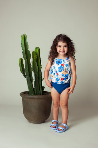 Watercolor Floral Back Neck Tie Tankini Set, blue