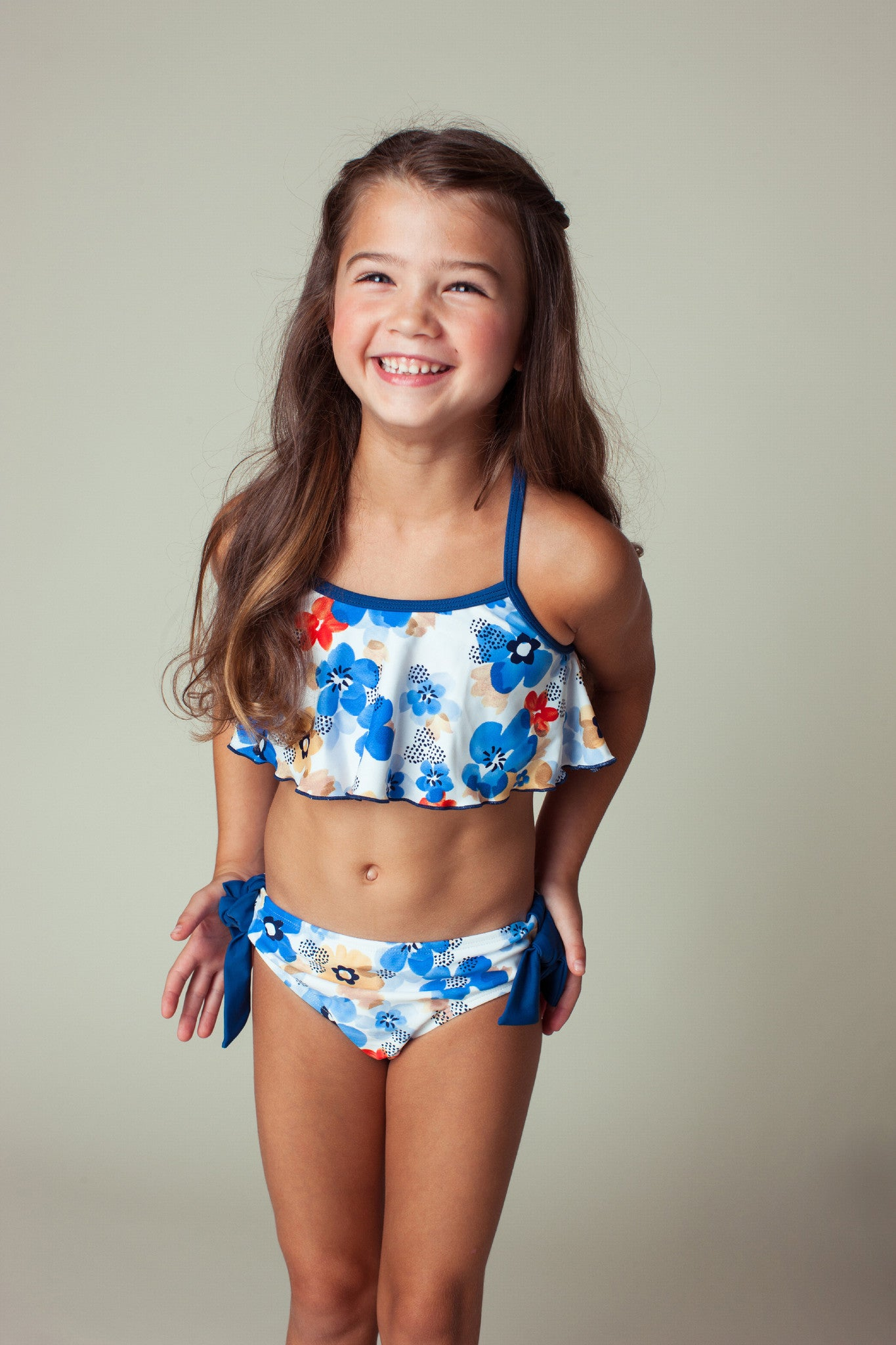 Watercolor Floral Flounce Bikini Set, NAVY