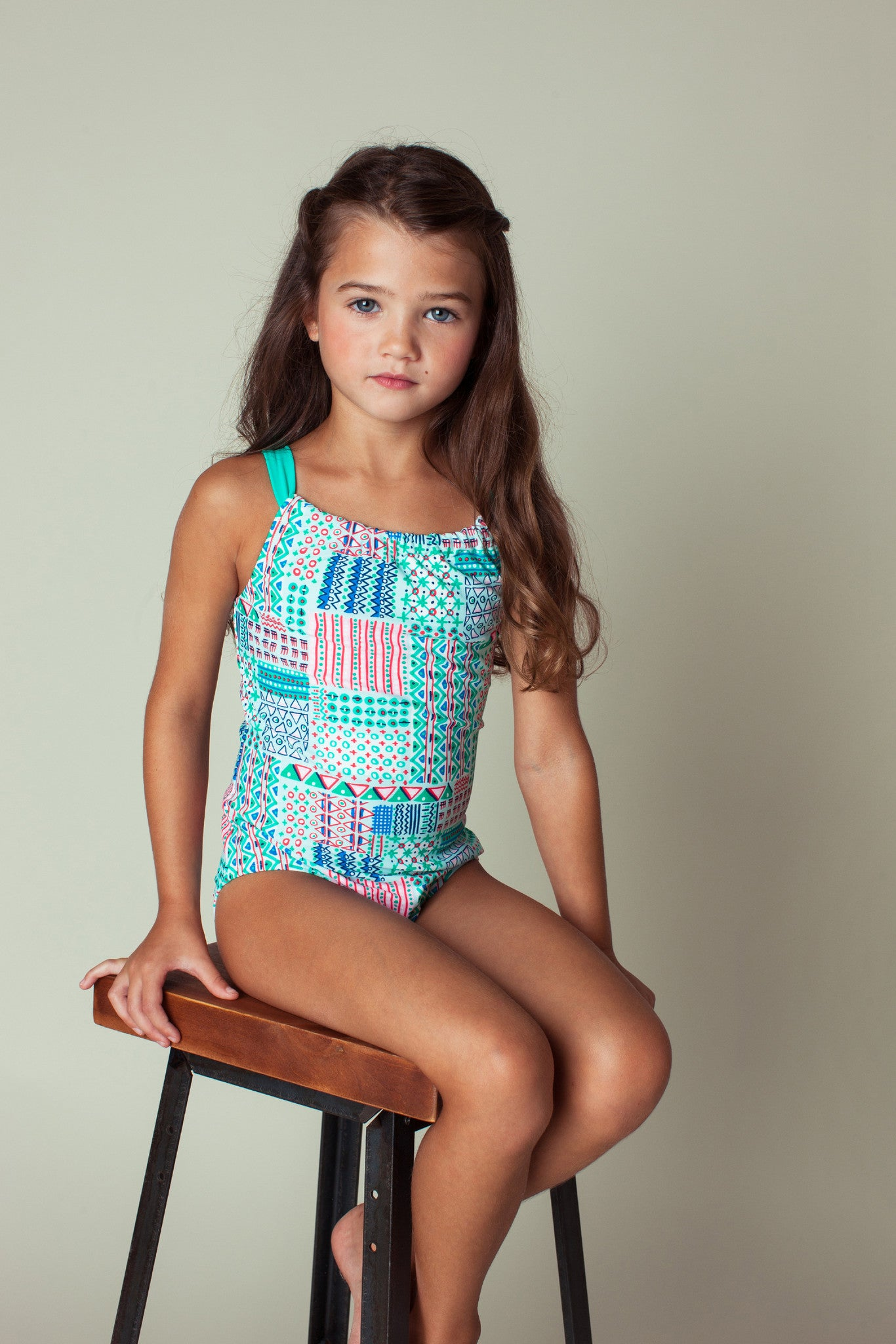 Mixed Pattern Back Neck Tie One-piece, MINT