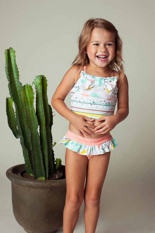 Stars & Clouds Front Bow Tankini Set, apricot