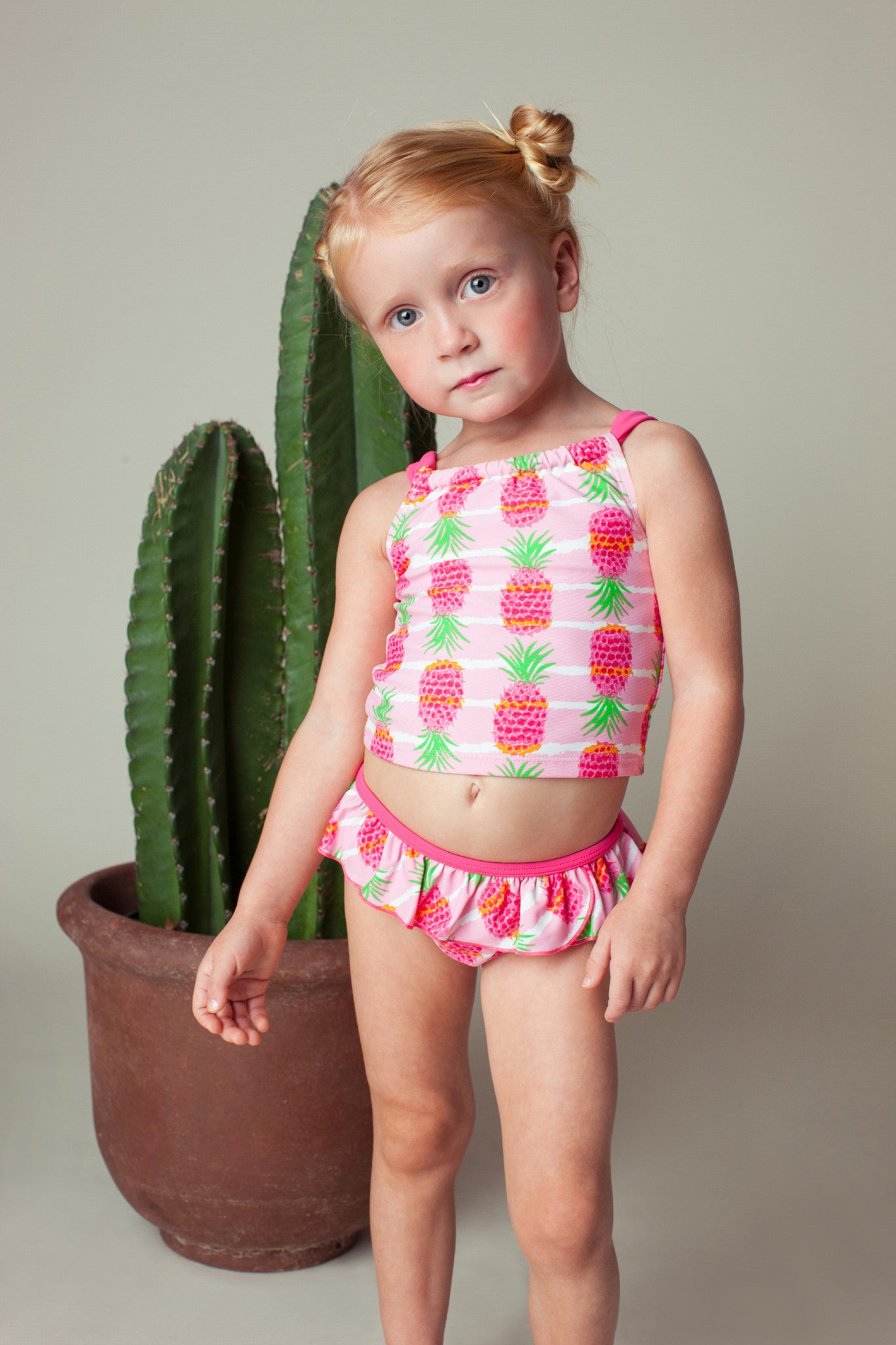 Pineapple Stripe Back Neck Tie Tankini Set, PINK