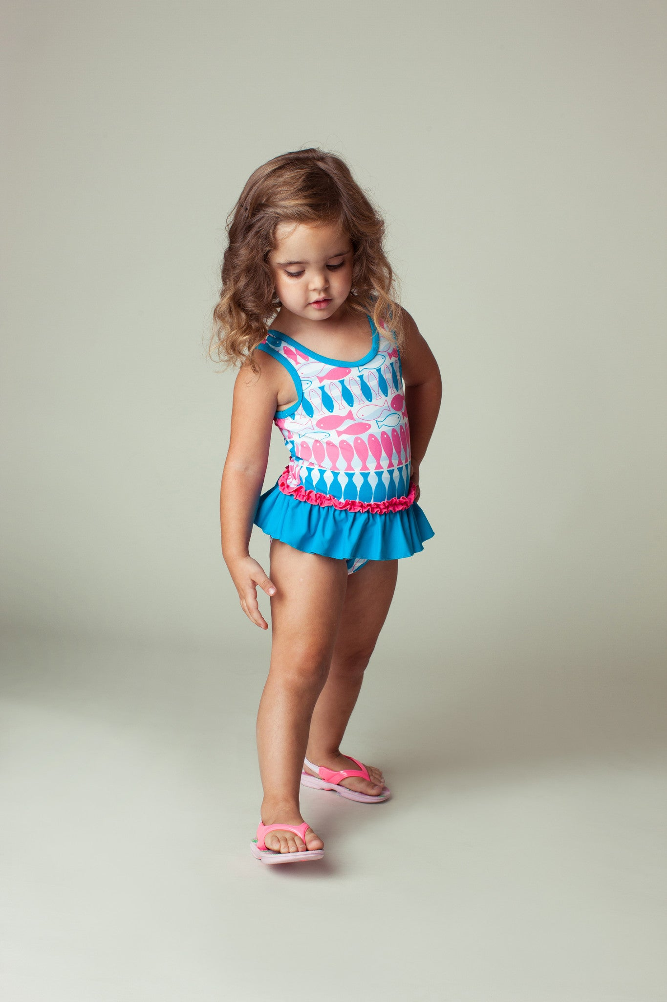 Fish Stripe Skirted One-piece, CARIBBEAN BLUE