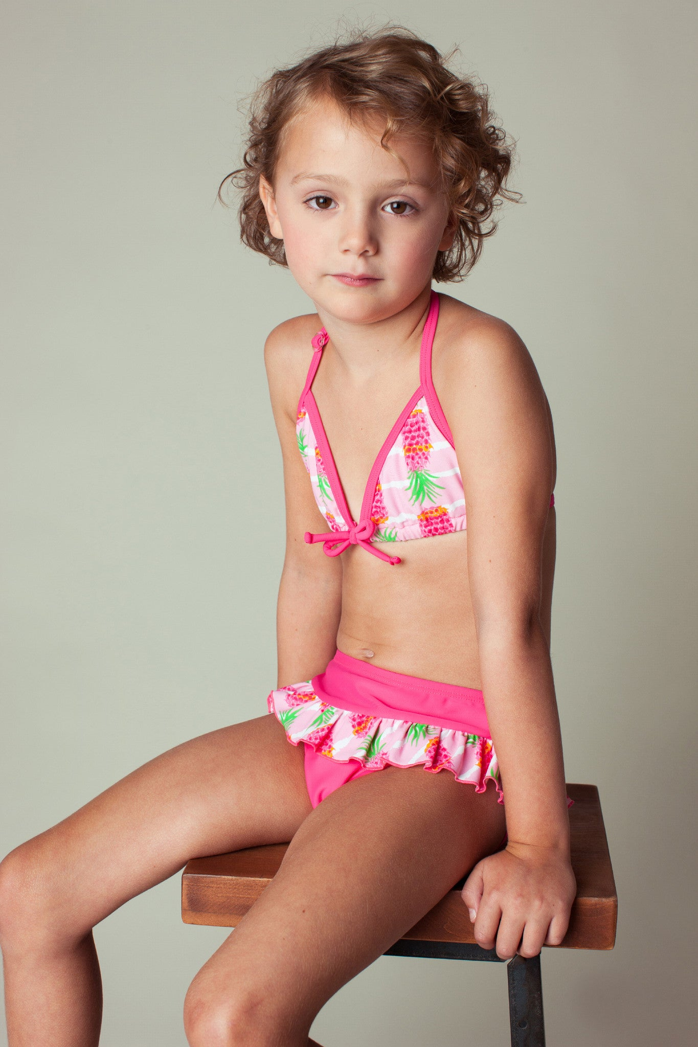 e827ebaa7f050 Pineapple Stripe Bikini   Smocking 3-pc Set