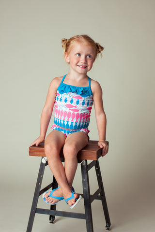 Fish Stripe Tankini Set, CARIBBEAN BLUE