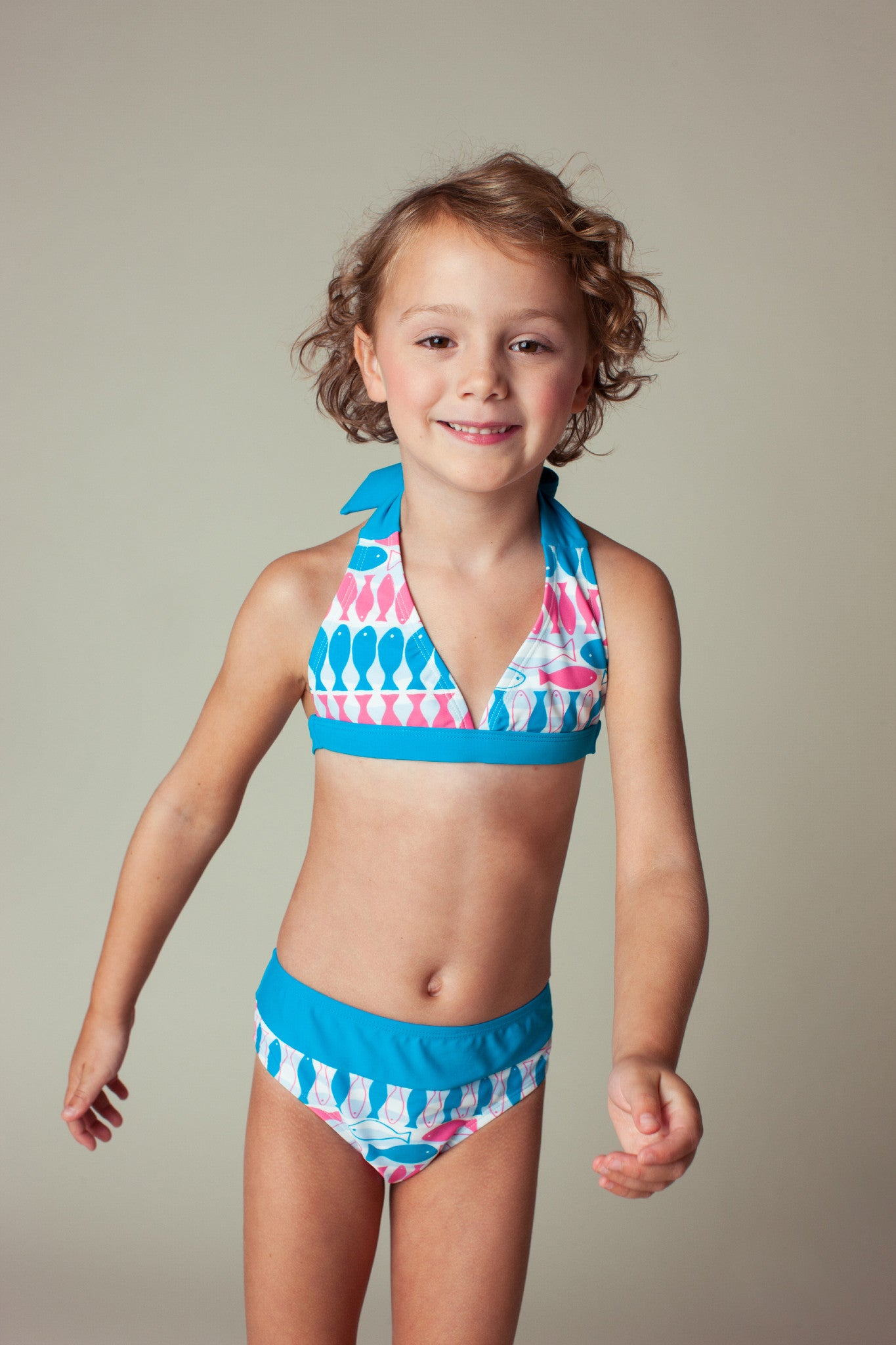 Fish Stripe Halter Neck Bikini Set, caribbean blue