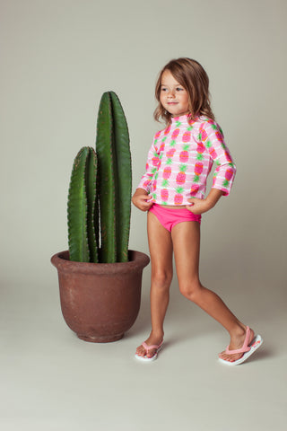Pineapple Stripe Long Sleeve Rash Guard Set, PINK