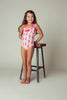 Pineapple Stripe Halter Neck One-piece, PINK