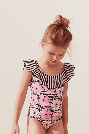 Cosmos Stripe Ruffle Neck One-piece, pink