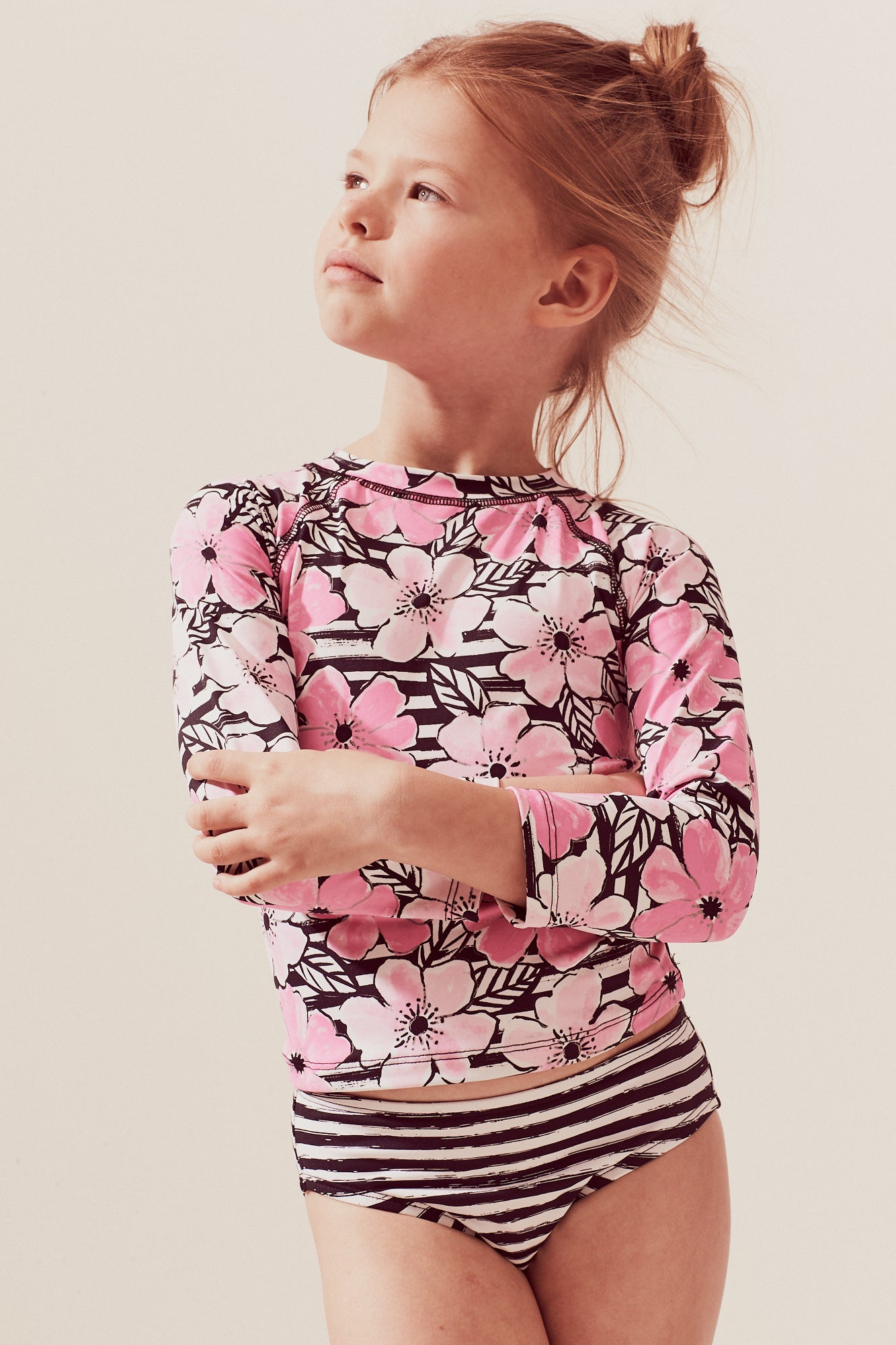 Cosmos Raglan Long Sleeve Rash Guard Set, pink