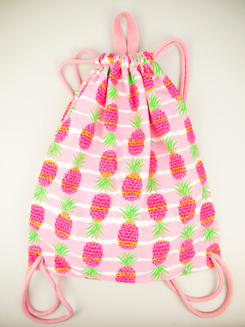 Pineapple Stripe Drawstring Bag, pink