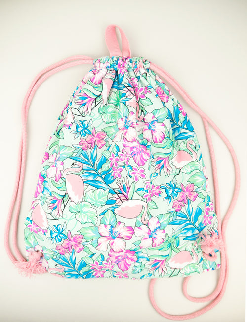 Flamingo Drawstring Bag, fuchsia