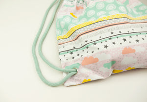 Stars & Clouds Drawstring Bag, apricot