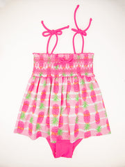 Pineapple Stripe Bikini & Smocking 3-pc Set, pink