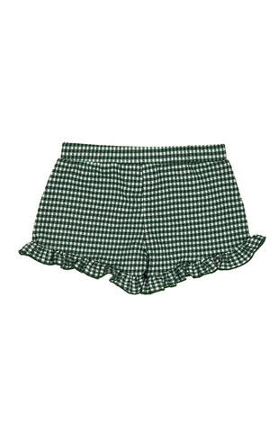 Ruffled Gingham Shorts, GREEN