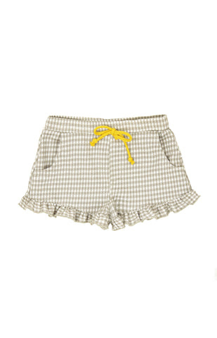 Ruffled Gingham Shorts, GRAY