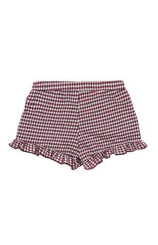 Ruffled Gingham Shorts, WINE