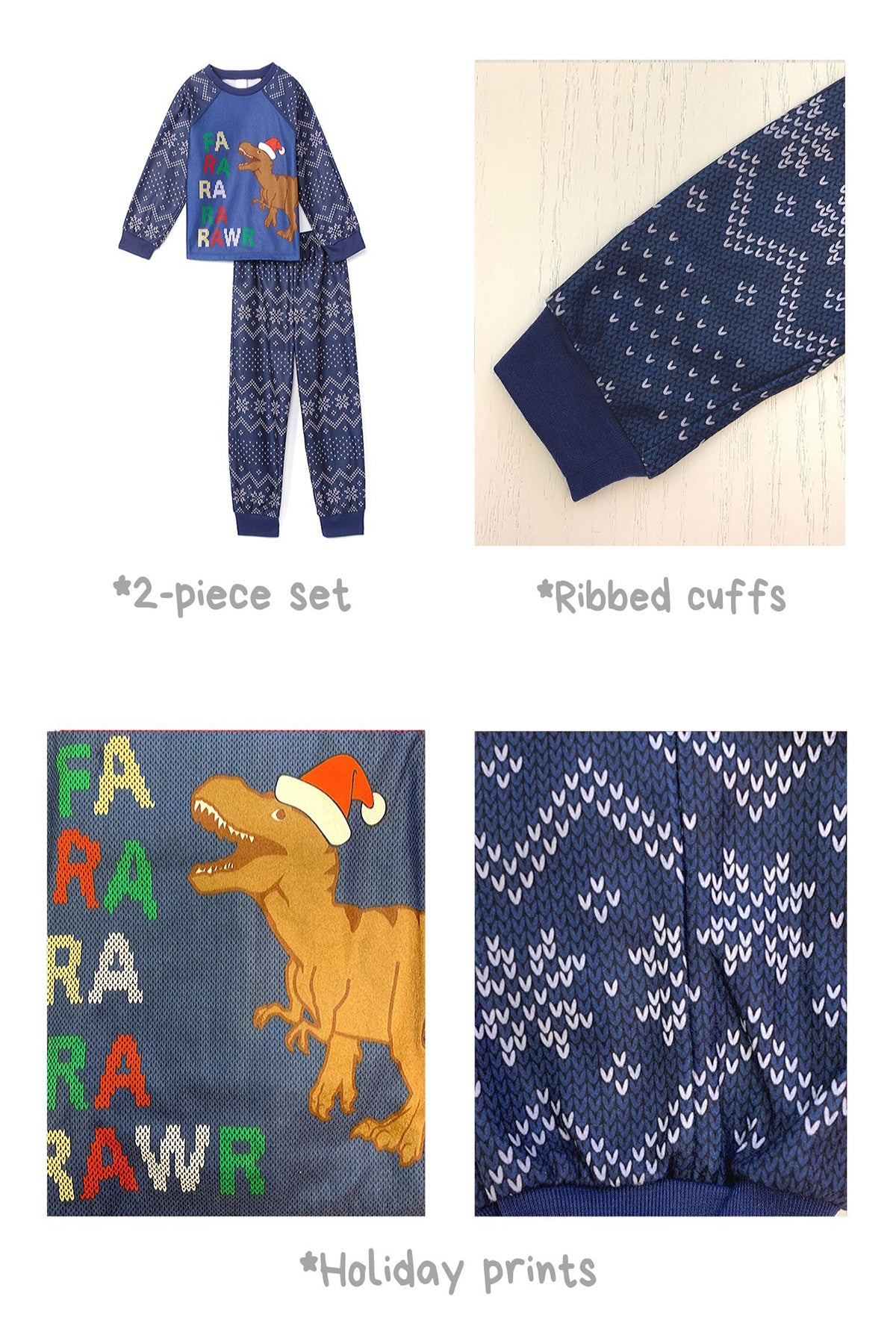 Sleepimini Fa-ra-rawr Dino Ugly Sweater PJ set, Navy