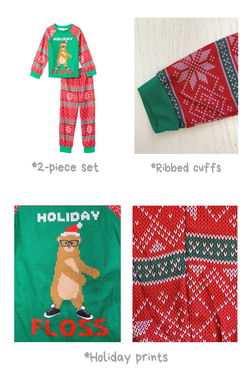 Sleepimini Holiday Floss Ugly Sweater PJ set, Green