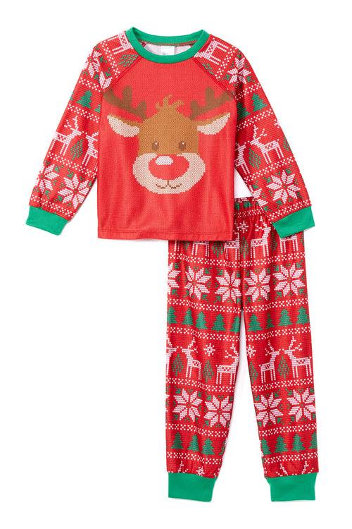 Sleepimini Reindeer Ugly Sweater PJ set, Red