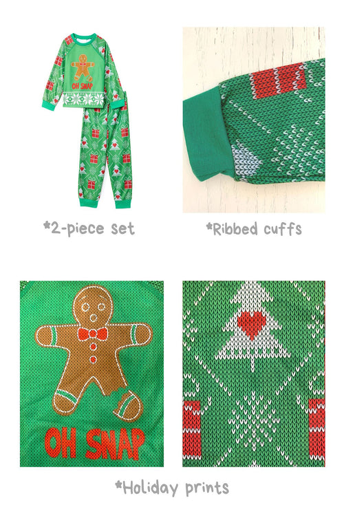Sleepimini Oh Snap Ugly Sweater PJ set, Green