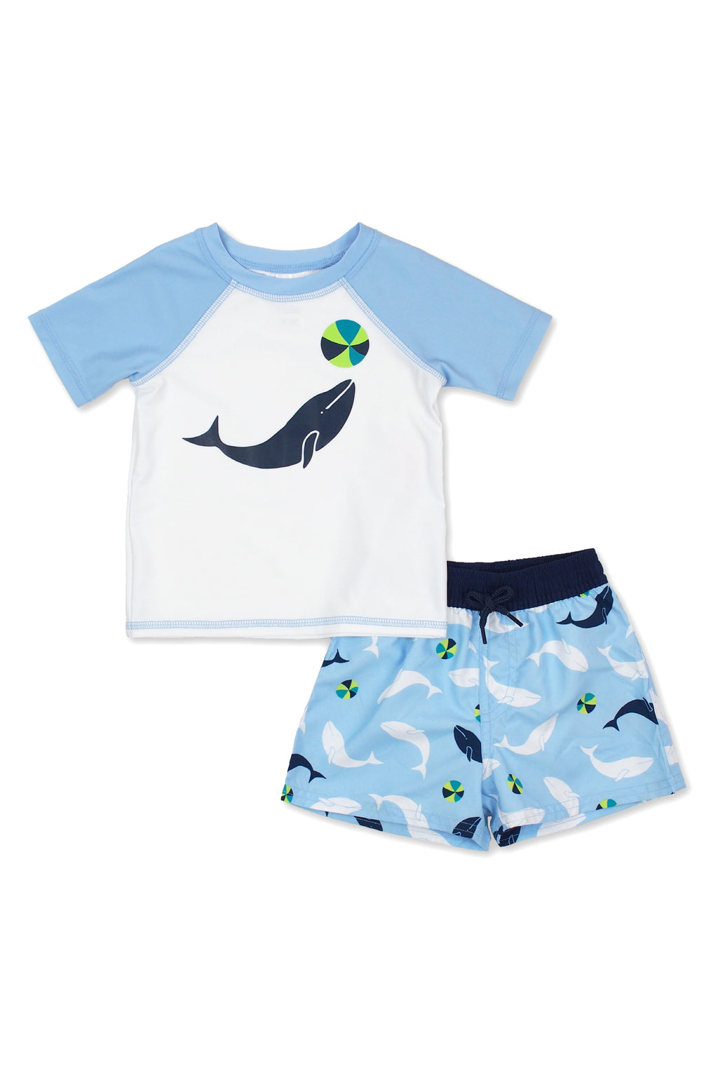 Boys Surf Playing Whale Short Sleeve Rash Guard Set, Blue