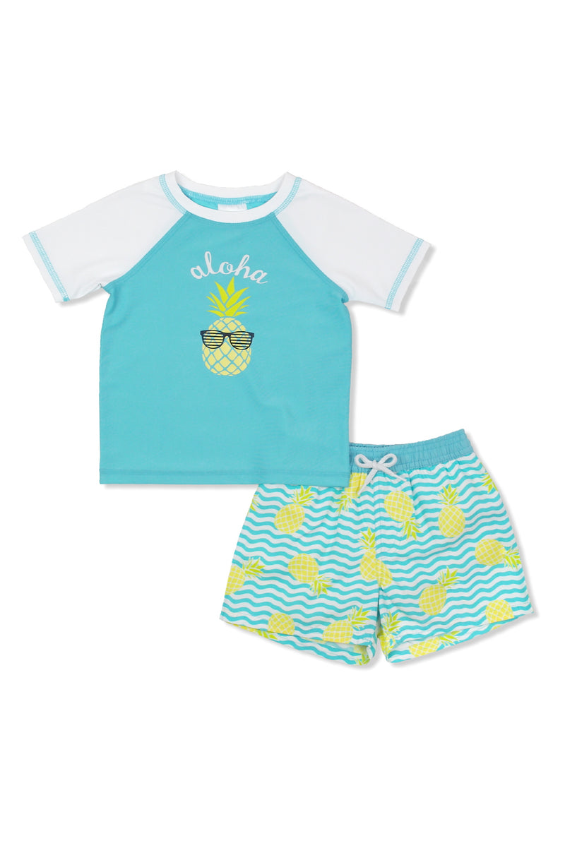 Boys Aloha Pineapple Short Sleeve Rash Guard Set, Aqua