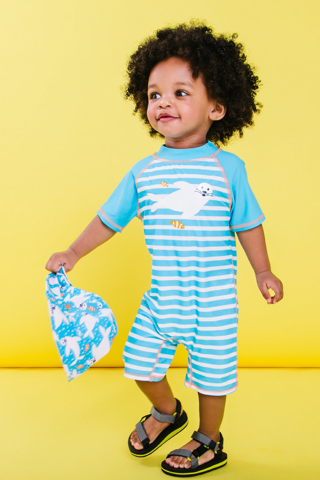 Boys Seal Stripe Short Sleeve Half Zip One Piece Swim Sunsuit, light blue