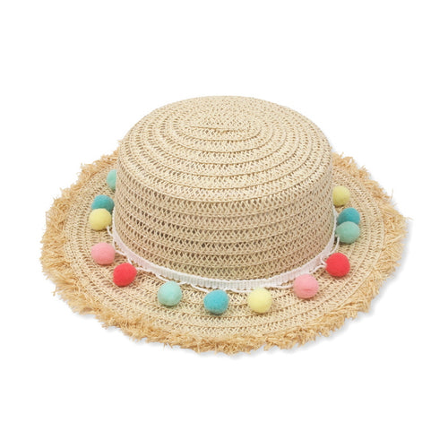 Pom Pom Raw Edge Straw Boater Hat, light natural